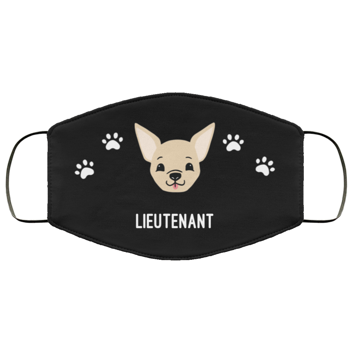 Tan Chihuahua Personalized Protective Face Covering – Black
