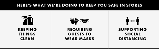 HERE'S WHAT WE'RE DOING TO KEEP YOU SAFE IN STORES
