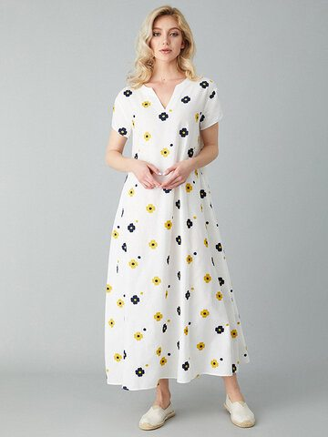 Embroidered Ankle Length Dress