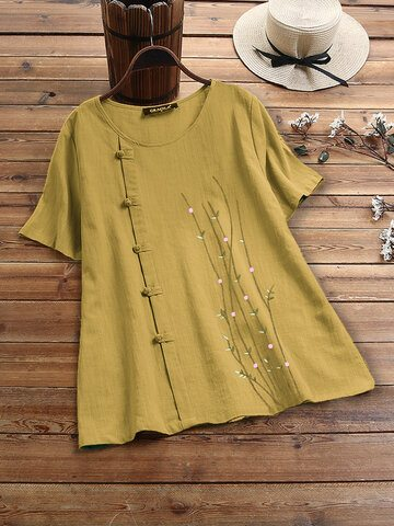 Embroidery Frog Button T-shirt