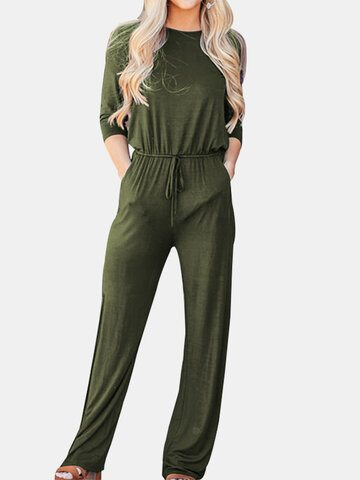 Solid Color Drawstring Jumpsuit