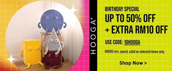 Hooga Up to 50% Off + Extra RM10 Off