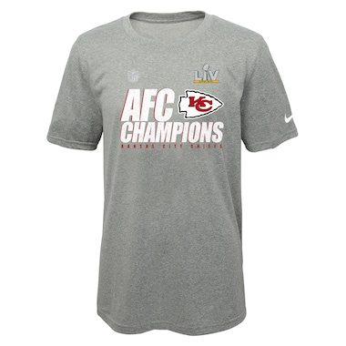Kansas City Chiefs Nike Youth 2020 AFC Champions Locker Room Trophy Collection T-Shirt - Heather Gray