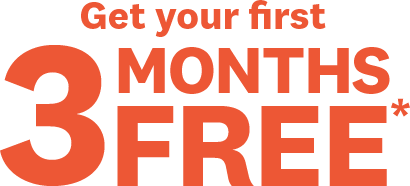 Get your first | 3 MONTHS FREE*