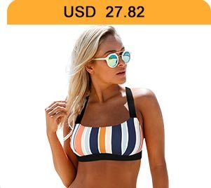 Tie Back Multicolor Striped Bikini Set
