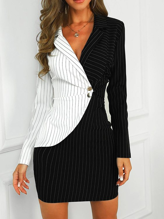 Color Block Button Design Stripe Notch Collar Dress