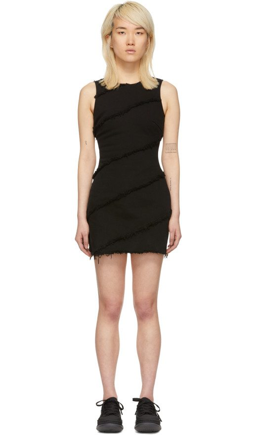 Alexander Wang - Black Denim Diagonal Seamed Dress