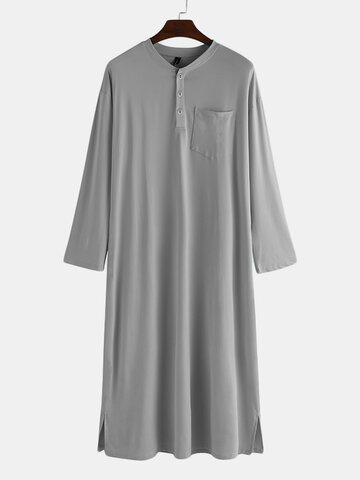 Button Down Collar Loose Robe