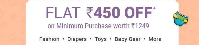 Flat Rs. 450 OFF* on Minimum Purchase worth Rs. 1249