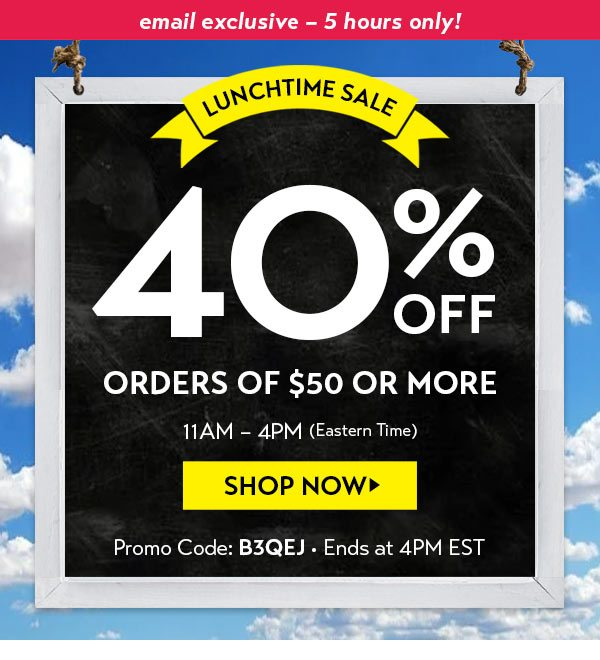 Lunchtime SALE: 40% off $50+