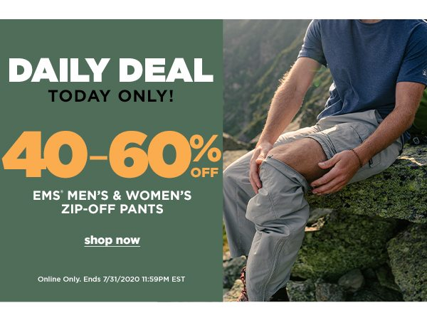 Daily Deal: 40-60% OFF EMS Men's & Women's Zip-Off Pants - Online Only - Click to Shop