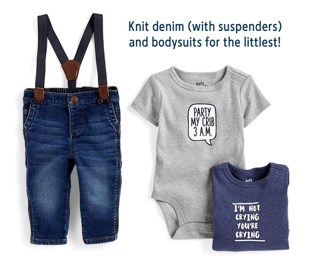 Knit denim (with suspenders) and bodysuits for the littlest!