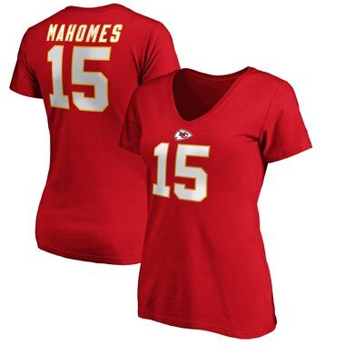NFL Pro Line by Fanatics Branded Patrick Mahomes Kansas City Chiefs Women's Red Authentic Stack Name & Number V-Neck T-Shirt