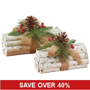 Rustic Holiday Faux Birch Logs - Set of 2