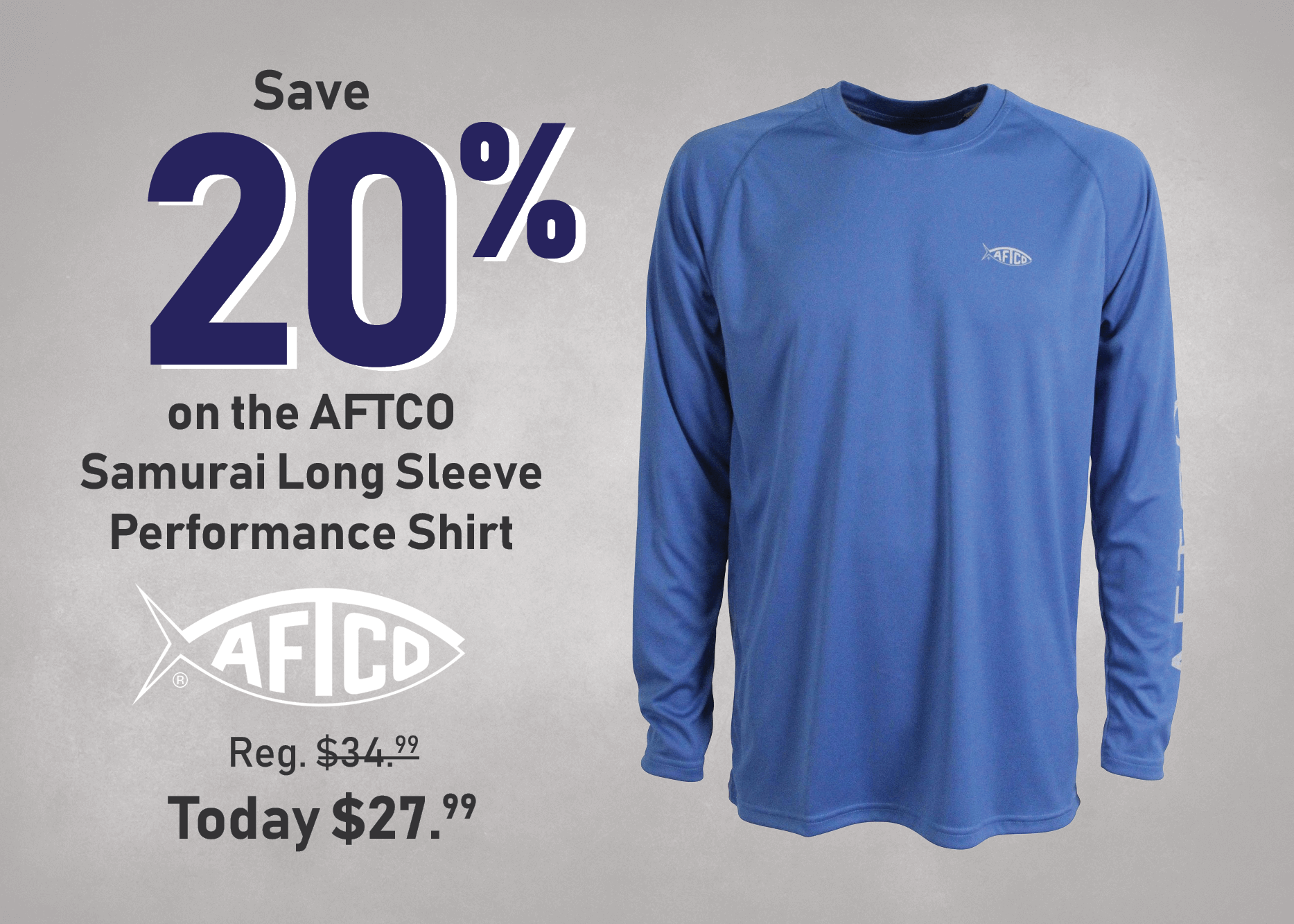 Save 20% on the AFTCO Samurai Long Sleeve Performance Shirt