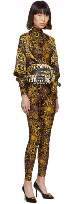 Versace Jeans Couture - Brown & Yellow Leopard Baroque Catsuit