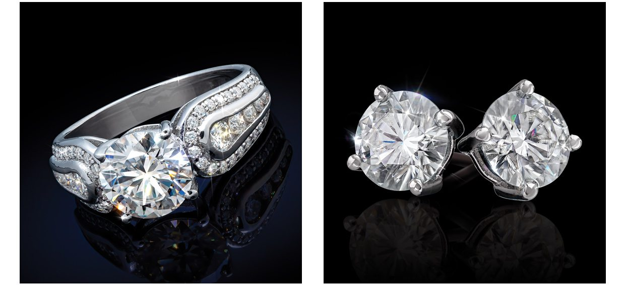 Perfecta Ring (2 1/4 ctw). Solitaire Earrings (2 ctw)