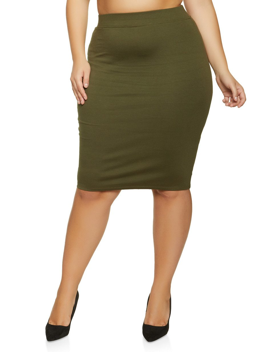 Plus Size Basic Ponte Pencil Skirt