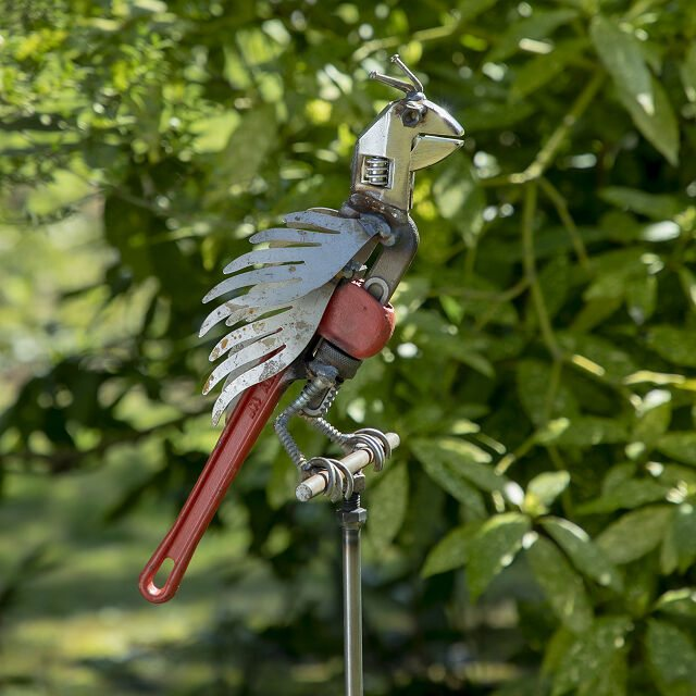 Recycled Perched Parrot Garden Stake
