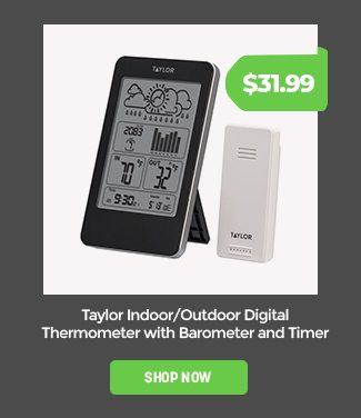 Taylor Indoor/Outdoor Digital Thermometer with Barometer and Timer