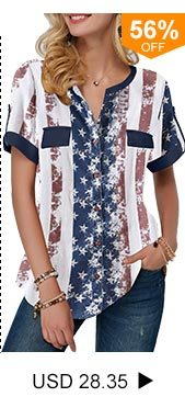 Roll Tab Sleeve Star Print Blouse