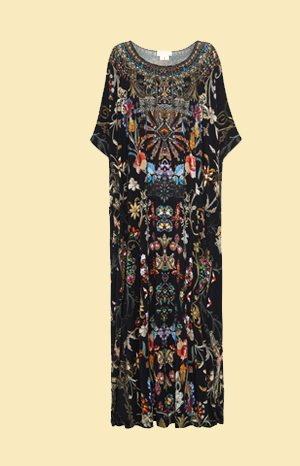Round neck kaftan in black based print with coloured stained glass pattern with floral detailing
