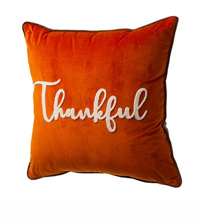 """Velvet Pillow Cover With """"Thankful"""" Word 