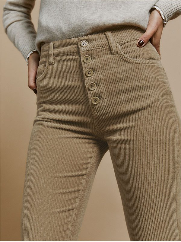Cynthia Button Fly High Rise Straight Corduroy Pants Clay