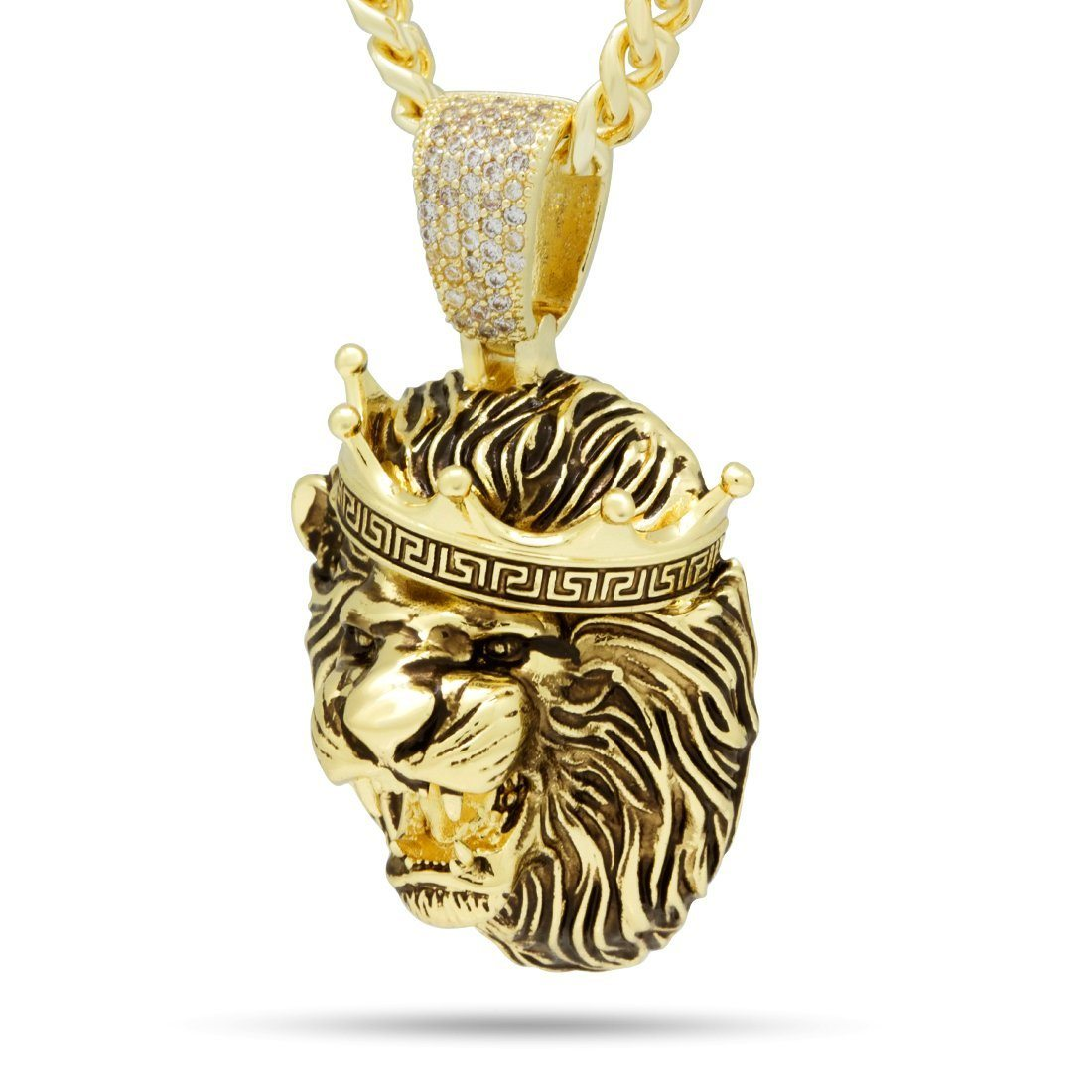 Image of Antique Gold Roaring Lion Necklace