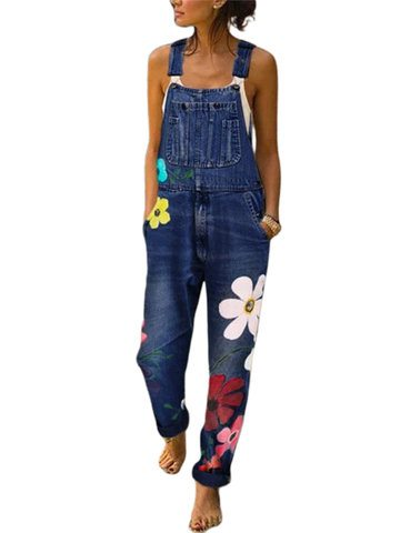 Casual Flower Embroidery Denim Jumpsuit