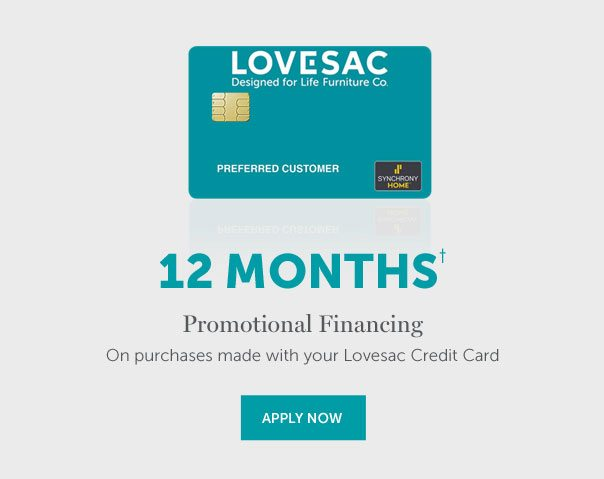 12-MONTHS Interest-Free Financing | On qualifying purchases made with your Lovesac Credit Card. Equal monthly payments required for 12 months. | APPLY NOW >>