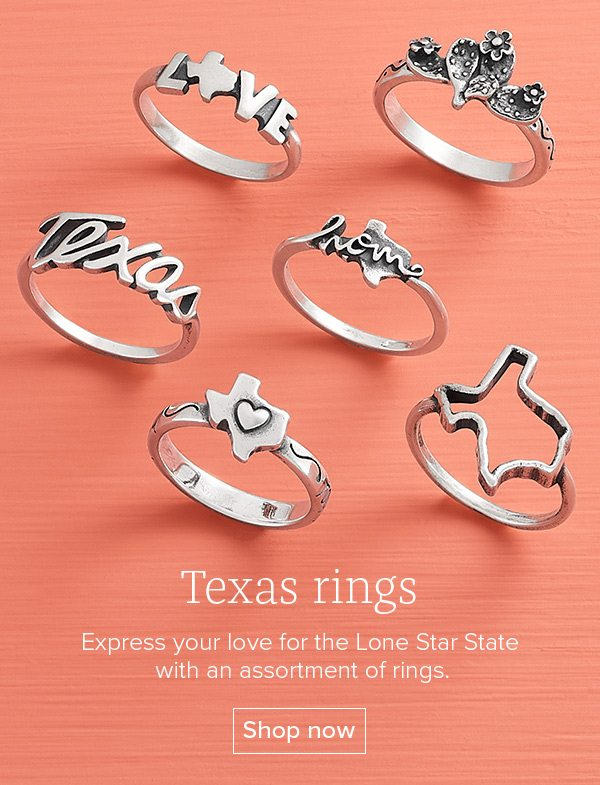 Texas rings - Express your love for the Lone Star State with an assortment of rings. Shop now