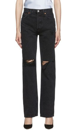 Re/Done - Black Rips High-Rise Loose Jeans