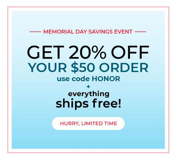 Get 20% off your $50 order