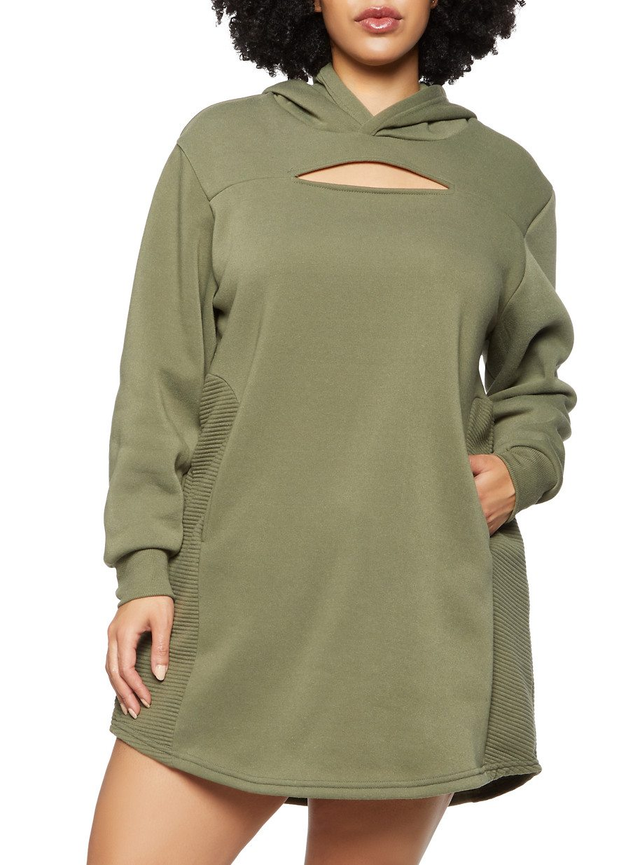 Plus Size Keyhole Hooded Sweatshirt Dress
