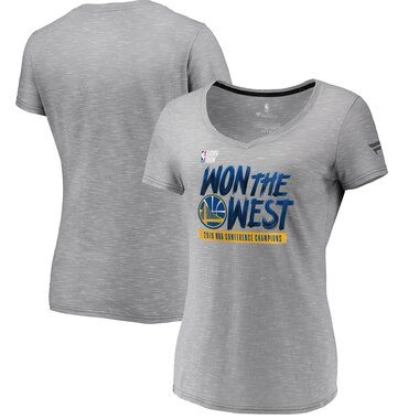 Golden State Warriors Fanatics Branded Women's 2019 Western Conference Champions Locker Room V-Neck T-Shirt - Gray
