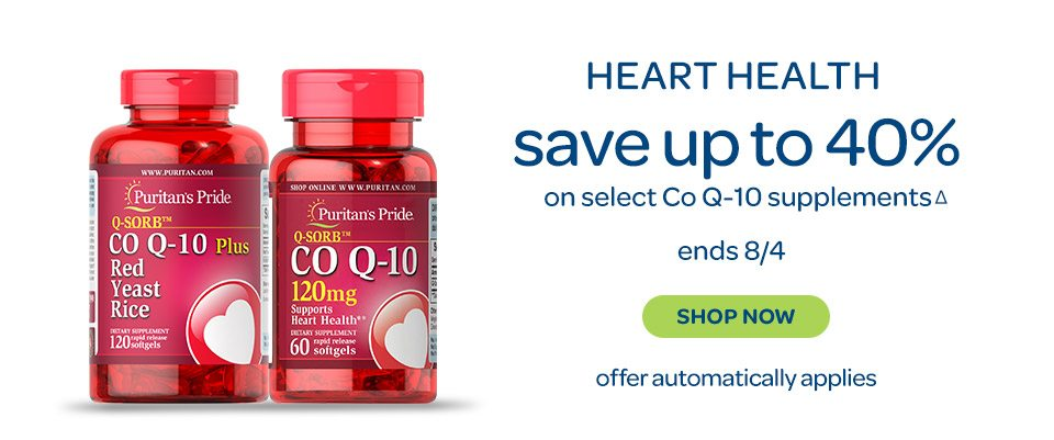 Heart Health save up to 40%Δ on select Co Q-10 supplements. Ends 8/4. Shop now. Offer automatically applies.