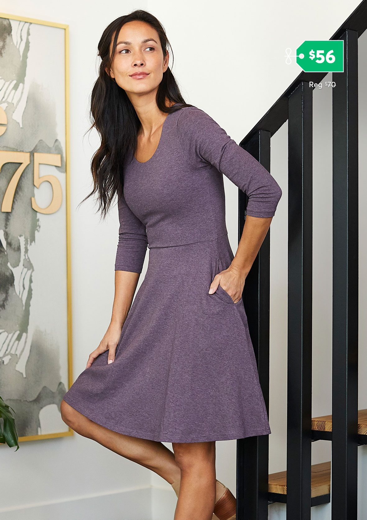 3/4 Sleeve Fit and Flare Dress $56 (reg $70)