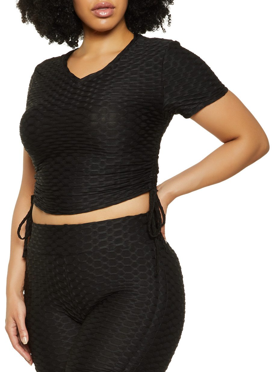 Plus Size Drawstring Side Textured Knit Top