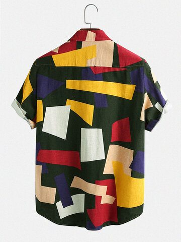Casual Breathable Color Block Shirts
