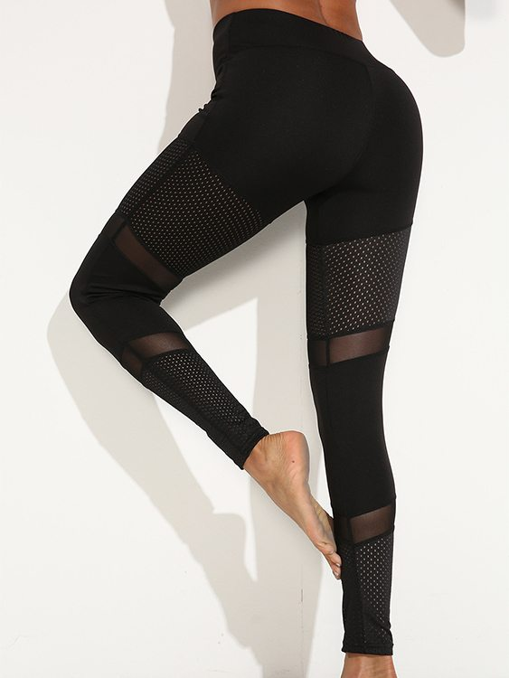 Hollow Design Patch Mesh Sports Leggings