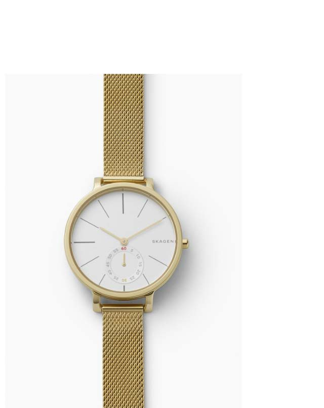 Hagen watch with a white dial and gold-tone steel-mesh strap.