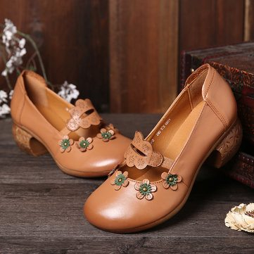 SOCOFY Retro Floral Leather Soft Shoes