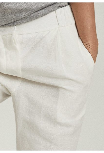 Lily White Linen Blend Pleat Front Trousers