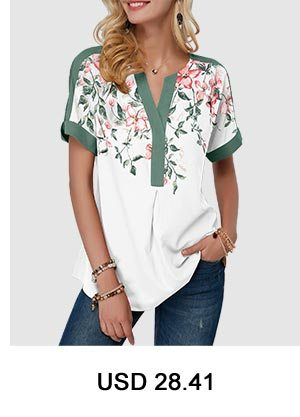 Floral Print Notch Neck Contrast Piping Blouse