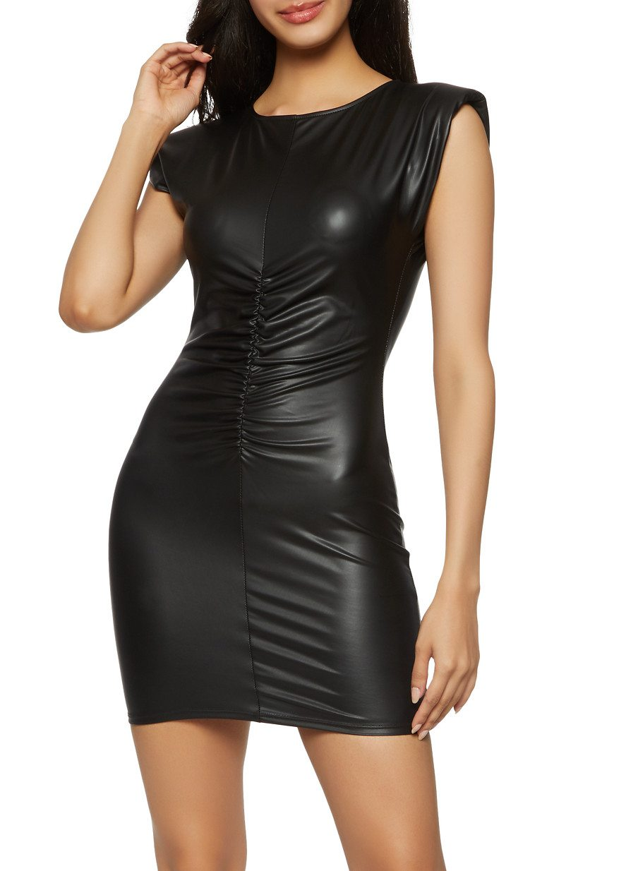 Ruched Front Shoulder Padded Bodycon Dress