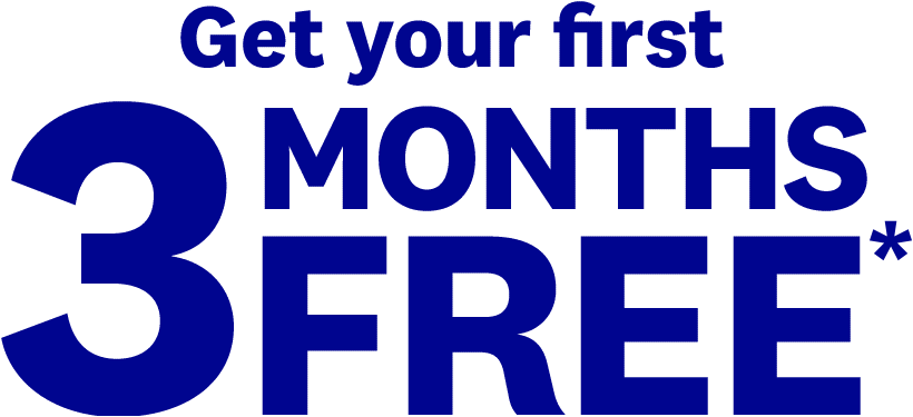 Get your first 3 MONTHS FREE*