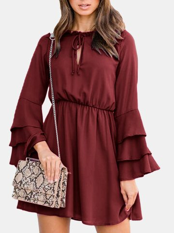 Ruffled Trumpet Sleeve Mini Dress