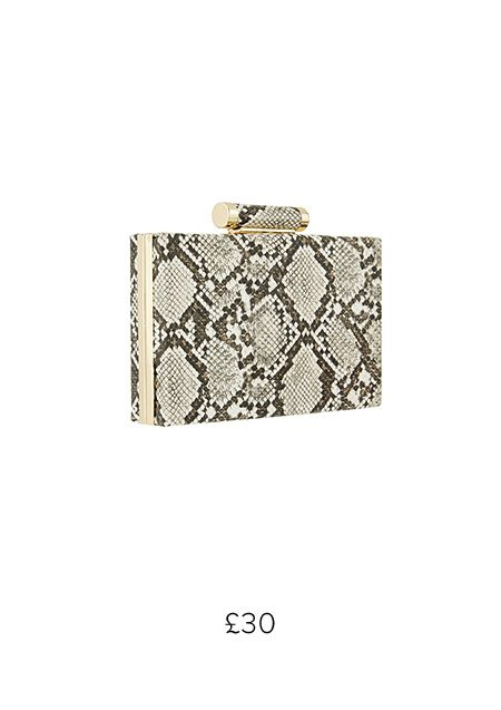 SASSEY SNAKE HARD CASE CLUTCH BAG £30