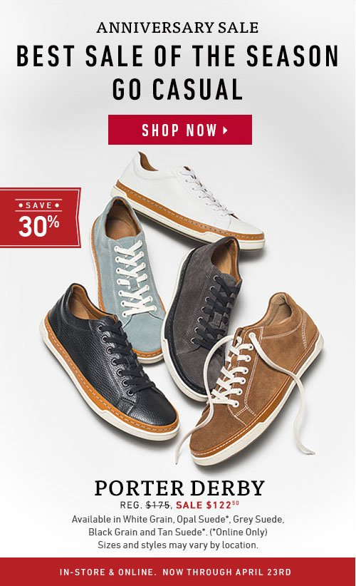 Best sale of the season. Go casual. Save 30% on Porter Derby.